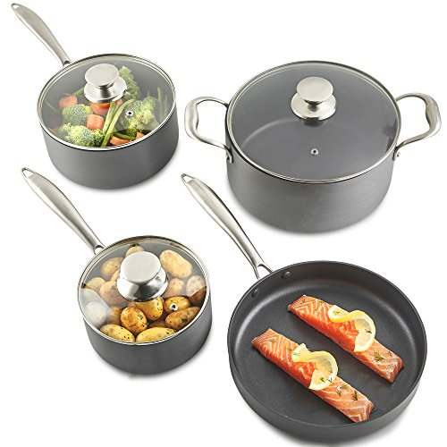 VonShef Hard Anodized Nonstick Cookware Pan Set, 2 Saucepans With Lids, 1...
