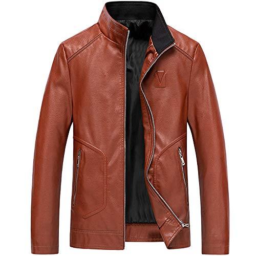 Men's Faux Leather Jacket Biker Fashion Cotton Coats Men's Stand Collar Large Size Casual-Orange_XXL