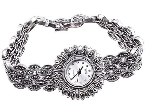 CHXISHOP Reloj de plata de ley 925 para mujer, reloj de pulsera de girasol retro, movimiento de cuarzo, esfera redonda con incrustaciones de circón, reloj gótico, blanco, 18,5 cm