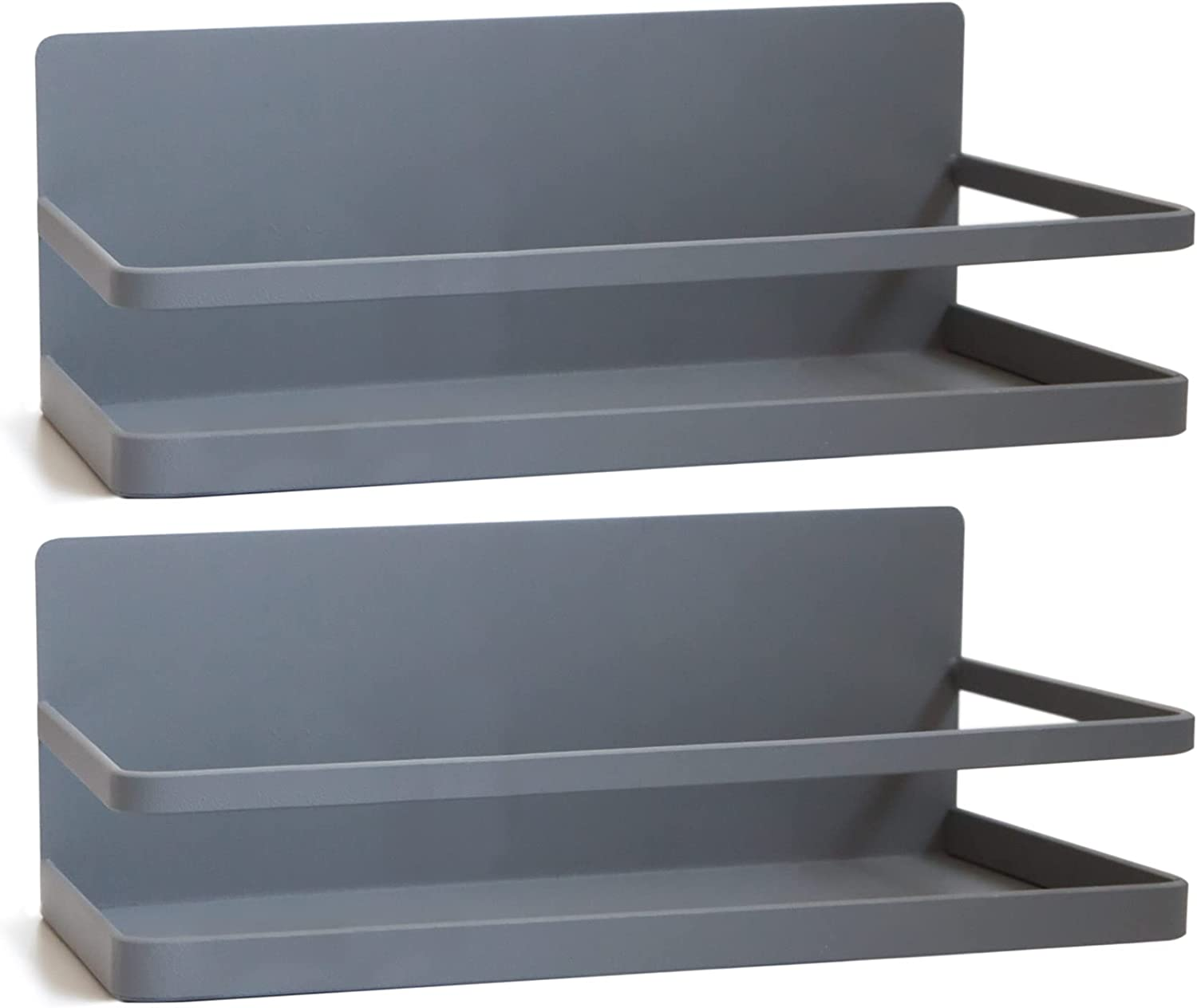 Magnetic Spice Rack for Refrigerator; Storage Shelf Kitchen Organizer with Strong Magnet for side of Fridge or over Stove to save space on Counter; includes 2 Removeable Hooks (Gray, 2 pack)