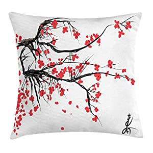 Ambesonne Nature Throw Pillow Cushion Cover, Sakura Blossom Japanese Cherry Tree Garden Summertime Vintage Cultural…