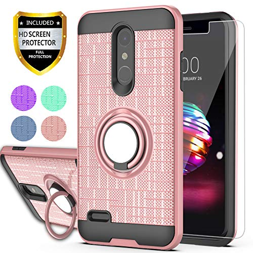 YmhxcY for LG K30,LG Phoenix Plus,LG Premier Pro,LG K10 2018 Case with HD Phone Screen Protector,360 Degree Rotating Ring & Bracket Dual Layer Resistant Back Cover for LG K10 2018-ZH Rose Gold