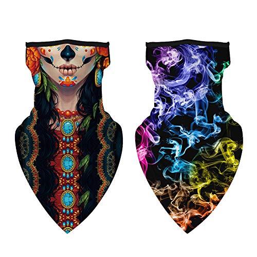 2pcs Multifunción Bufanda Braga Cuello, Moto Elástico Bandana Unisex Bufandas Facial Triángulo, Cuello Polaina Transpirable Pasamontañas para Hombre Mujer