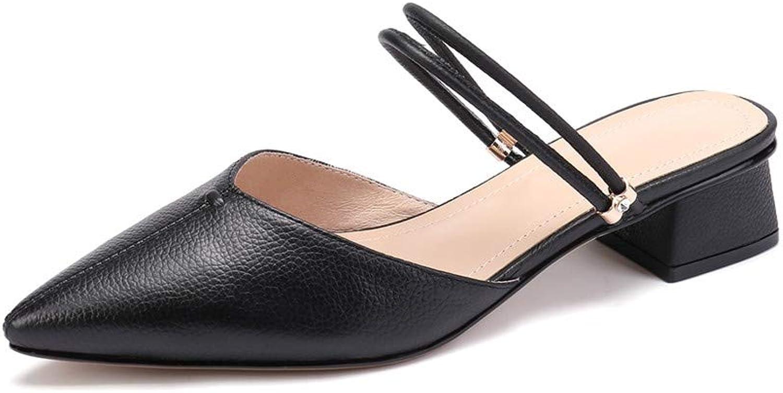 Nine Seven Genuine Leather Women's Pointed Toe Low Chunky Heel Graceful Handmade Fashion Slip On Women Strap Mule Pumps