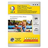 MR.R Papel fotográfico recubierto de inyección de tinta de un solo lado, 5RX100sheets por paquete, 260gsm 70lb