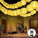 Qedertek 30er LED Lampion Lichterkette Außen, 10.15m Lichterketten Lampion mit Stecker, Gartenlaterne Lichterkette Wasserdichte für Balkon,...