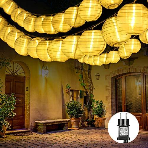 Qedertek 30er LED Lampion Lichterkette Außen, 10.15m Lichterketten Lampion mit Stecker, Gartenlaterne Lichterkette Wasserdichte für Balkon, Terrasse, Party, Hochzeit, Weihnachten (Warmweiß)
