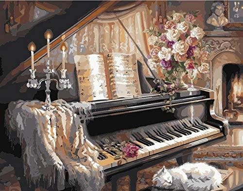 BAOFUFU DIY schilderen op nummer-olieverfschilderij, volwassenen kinderen schilderen op cijfers kits mooi piano patroon design kunst vintage modern muurschilderij voor wooncultuur 40x50cm fertiger Rahmen