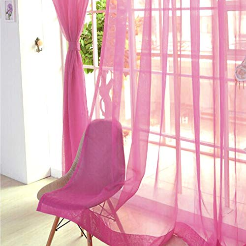 Eastery Tulle Curtain Voile Curtain For Bedroom Angel Bag With Elegance Simple Style Panel Sheer Scarf Valances For Inside Dark Blue Free Size (Color : Rosarot, Size : Size)