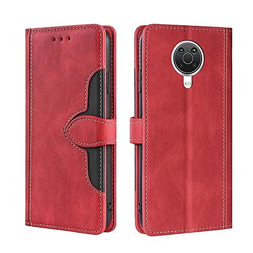 KERUN Hülle für Nokia G10/G20/Nokia 6.3, Leder Flip Klappbar Lederhülle, TPU Folio Flip Wallet Cover Stand [Kartenslots] Schutzhülle Hülle für Nokia G10/G20/Nokia 6.3. Rot