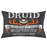 Druid, The of Nature - (Black) Racerback Funda de Almohada Cojín de sofá Decoración Cojín de Coche (50 cm x 76 cm)