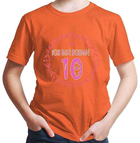 Hariz – Camiseta de manga corta para niño, diseño con texto en alemán 'Ich Bin Schon Zehn Blumenkranz' naranja 10 años
