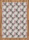ABAKUHAUS Trópico Alfombra de Área, Tucán y de Las Flores de la Vendimia, Tejida Acento Decorativo para Sala de Estar o Dormitorio, 160 x 230 cm, Off White Multicolor