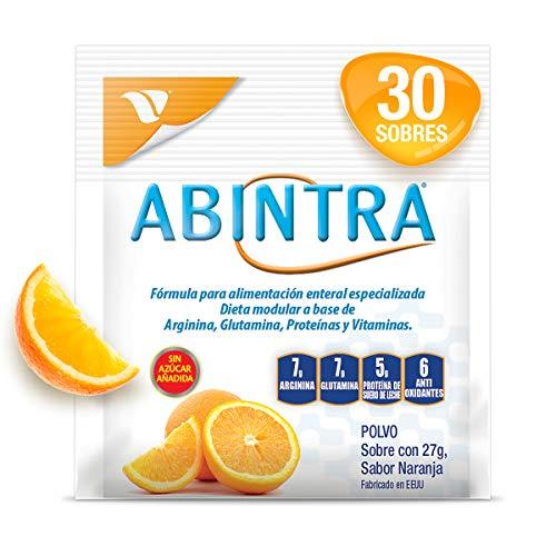 Abintra, caja con 30 Sobres con 27g cada uno. Formula para alimentación enteral especializada a base de Glutamina, Proteina, Arginina y Vitaminas con nutrientes que promueven la reparación de tejidos en personas adultas con deficiencias nutricionales. Sabor a Naranja