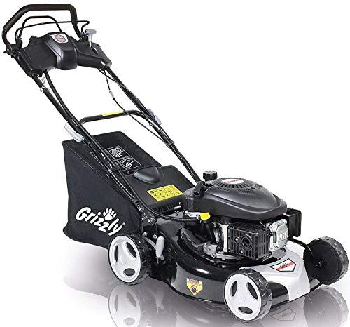 Grizzly Benzin Rasenmäher Elektrostart auf Knopfdruck Selbstantrieb 46 cm Schnittbreite Stahlgehäuse 4 Takt OHV Motor(Profi - Black Edition)