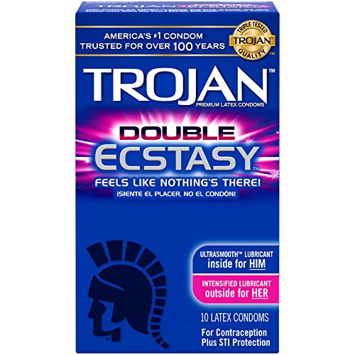 Trojan Double Ecstasy Lubricated Condoms, 10ct