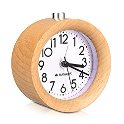 Navaris Wood Analog Alarm Clock - Round Battery-Operated Non-Ticking Clock with Snooze Button and Light - Light Brown