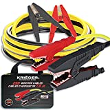 Krieger Jumper Cables for Car Battery, Heavy Duty Automotive Booster Cables for Jump Starting Dead or Weak Batteries, 1000Amps Custom-made Alligator Clamps - Carrying Bag Included (25-Feet (1-Gauge)