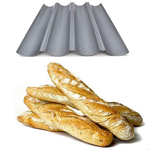 Placa molde perforada y antiadherente para hacer barras de panal horno, con diseño reversible para galletas y tejas de almendra, acero, 4 baguettes