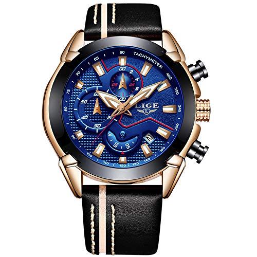 LIGE Herren Chronograph Wasserdicht Militär Sport Analog Quarz Uhr Großes Gesicht Mode Casual Kleid mit Leder Armband LG9869D Roségold Blau