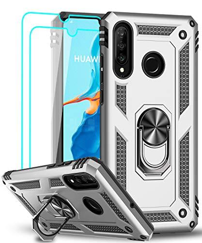 LeYi für Huawei P30 Lite Hülle P30 Lite New Edition Handyhülle mit Panzerglas Schutzfolie(2 Stück),360 Grad Ring Halter Handy Hüllen TPU Cover Bumper Hülle Schutzhülle für Huawei P30 Lite 2020 Silber