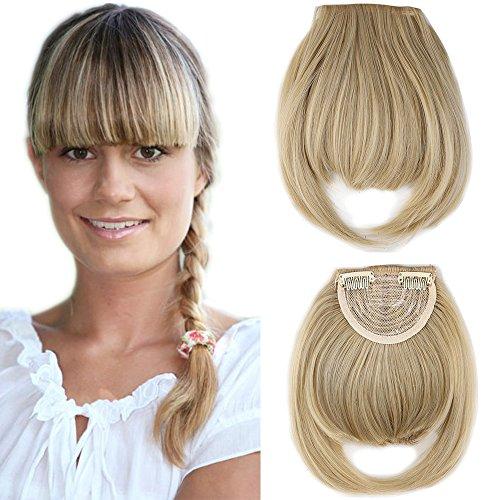 Clip in Pony Haarteil Extensions Fringe Bangs One Piece In Front Hair Verlängerung glatt wie Echthaar Aschblond Mix Bleichblond