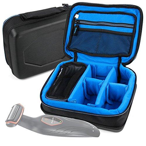 DURAGADGET Bolsa Acolchada Profesional Negra con Compartimentos para maquinilla de Afeitar/Corta Pelo Remington MB4045, Philips S7370/12, Braun Silk-épil 7 7-561, Philips HC5450/80, Philips QC5115/15