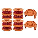 YUEFENG 8 Pack String Trimmer Replacement Spools for Worx WA0010 WG180 WG163 WG175 Electric Trimmer/Edger Weed Eater Line 10ft 0.065'+ 2 Pack Spool Cap Covers (8 Spools, 2 Caps)