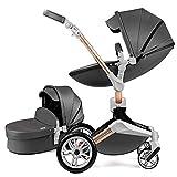 Hot Mom Kombikinderwagen 2 in 1 Kinderwagen 2020 Neues Design 360 Derhbar (Dark Grey)