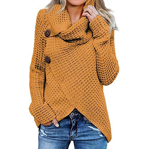 Jerseys De Punto para Mujer Cuello de Tortuga Manga Larga Suelto Prendas de Punto Suéter Irregular Jerséis Collar de la Pila Tops Cálido Otoño Invierno riou (Yellow, L)