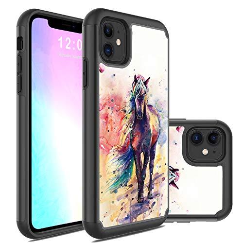 Funda para iPhone 11, Rossy 2 en 1 híbrido PC duro y silicona suave, resistente a los golpes de doble capa de protección de cuerpo completo para Apple iPhone 11 de 6.1 pulgadas (2019)