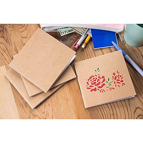 Mini Kraft Paper Blank Notebook Journals, 24 Sheets Each (4.1 x 4.2 In, 48 Pack)
