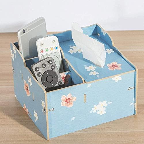 Caja de pañuelos de almacenamiento para decoración de toallitas húmedas con contenedor para manualidades, caja de pañuelos de madera, caja de pañuelos húmedos (color: azul, tamaño: 1)