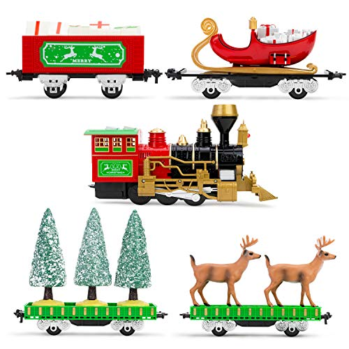 Boley Christmas Train Set - 22 Pc Electric Kids Train Set for Around The Christmas Tree - Ages 3+