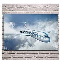 レトロな旅客機航空機ファブリックポスターリビングルームホームウォールキャンバスアートプリント装飾的な-60X80cmフレームレス