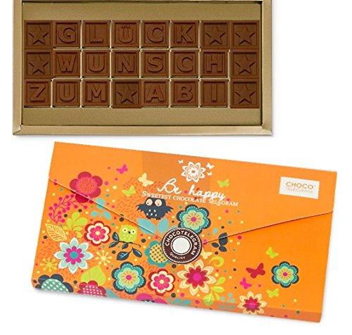 GLÜCKWUNSCH ZUM ABITUR! - ChocoTelegram - Geschenk zum bestandenen Abitur | Abi | Schokolade | Schokoladen-Buchstaben | Geschenkidee | Mädchen | jungen | | Premium Qualität