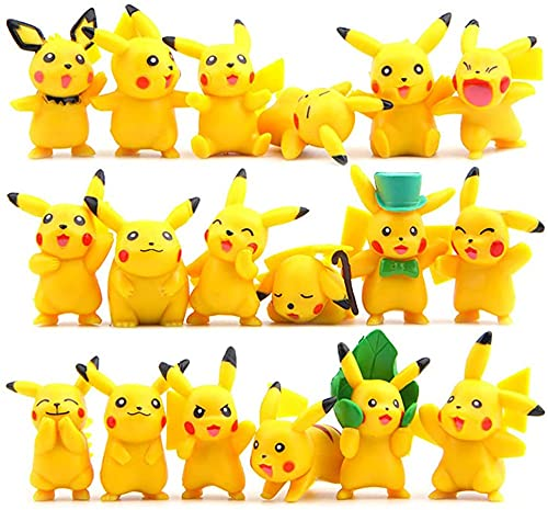Pikachu Cake Topper, 18 Piezas Pikachu Figuras Decorativas para Tartas Fecoración Para Tarta Decoración Tartas para Niños, Cumpleaños, Bebés, Niñas