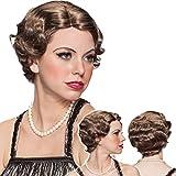 NET TOYS Perruque Charleston Femme Coiffure années 1920 châtain Coiffe Look Gatsby Cheveux crantés Moumoute Garçonne Accessoire de déguisement Look des années folles