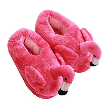 Cute Flamingo Slippers Heel Cover Winter Warm Plush Animal Slippers for Women