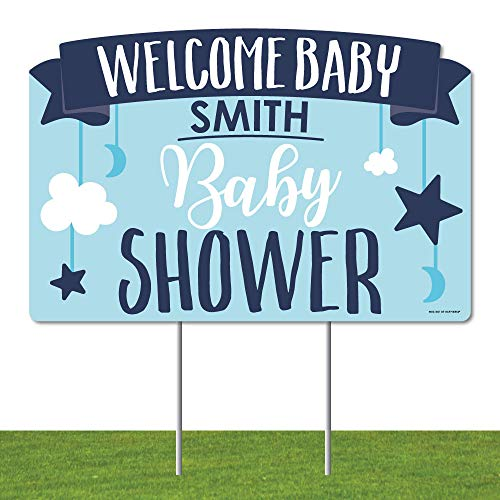 Big Dot of Happiness Personalized It's a Boy - Blue Baby Shower Yard Sign Lawn Decorations - Welcome Baby Custom Name Party Yardy Sign