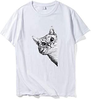 HebeTop Women's Cat Print Tee Summer Casual Basic Short Sleeve Round Neck T Shirts