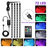 4pcs Tiras LED Coche, bedee Luz Interior Coche 72 Led RGB 5050 Impermeable, el Color de la...