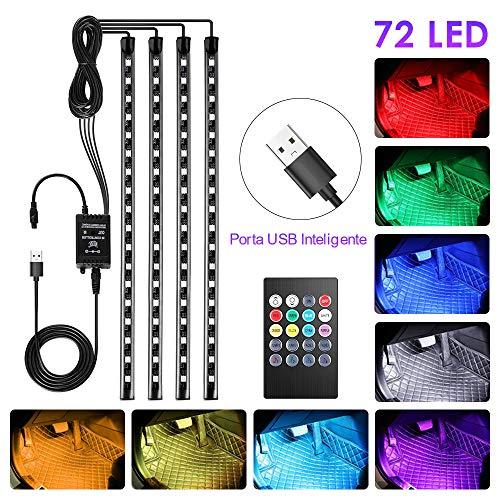 4pcs Tiras LED Coche, bedee Luz Interior Coche 72 Led RGB 5050 Impermeable, el Color de la Decoración de la Lámpara para...