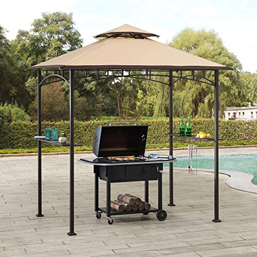 Sunjoy Harborcreek 5 x 8 ft. Steel 2-Tier Grill Gazebo, Tan & Brown