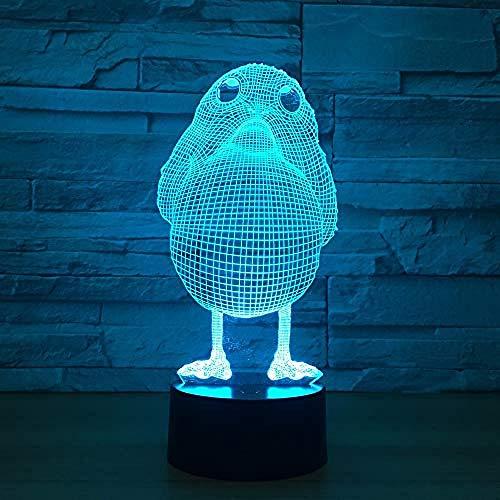 Diaporama 3D kuikenlamp 3D illusie LED decoratie nacht licht verjaardag cadeau wekker basis 7 acryl kleur humor lamp/Touch 7 kleur (zwart)