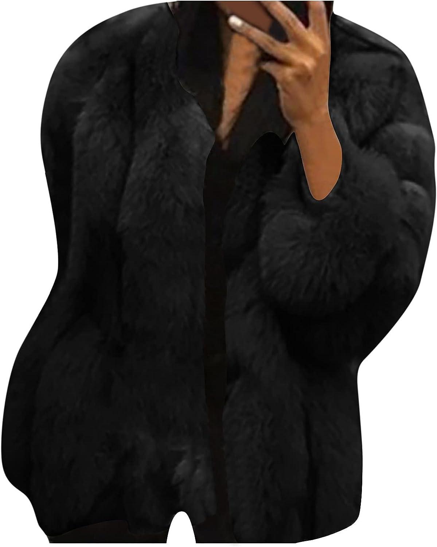Faux Fur Coats for Women Winter Fleece Warm Cardigans Long Sleeve Plush Fashion Casual Temperament Coat