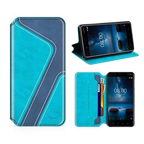 MOBESV Smiley Nokia 8 Hülle Leder, Nokia 8 Tasche Lederhülle/Wallet Hülle/Ledertasche Handyhülle/Schutzhülle mit Kartenfach für Nokia 8, Aqua/Dunkel Blau