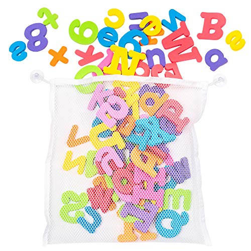 100 Stück Badewanne Buchstaben & Zahlen inkl. Aufbewahrungsnetz