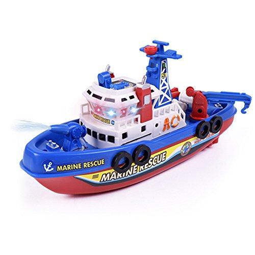 Lanceasy Luz de alta velocidad de música eléctrica de rescate marino, barcos de bomberos, juguete para disparar regalos