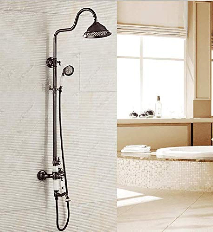 GFF Dusche Kupfer schwarz europisch Retro dusche duschset Aufzug Bad hei kalt Thermostat dusche Bad dusche mischbatterie